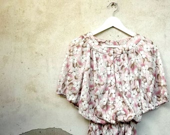 Pink flowers vintage dress about 1980 - size medium