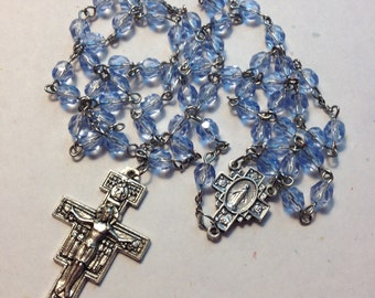 SALE! Catholic Rosary light blue czech glass beads San Damiano crucifix