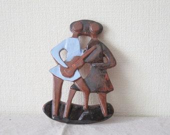 Vintage Ceramic Wall Decor, Guitar Player, Singing Dancing Couple, Brown Light Blue, Ceramic Wall Hanging, Mid Century Modern @ 115