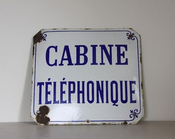 Original French Enamel Public Telephone Sign 1920s