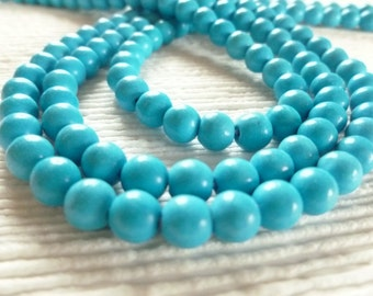 "Full 15"" Strand 6mm Blue Turquoise Magnesite Gemstone Round Ball Beads Leather Wrap Ladder Bracelet Supplies"
