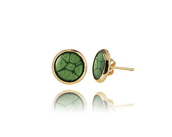 Dark green gold Small earrings Stud malachite earrings Any occasion jewelry Minimalist Glossy Gift for her Military style Jade in gold