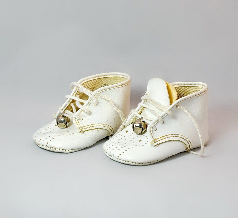 Pair Parisette Vintage White Baby Shoes Bells Canada