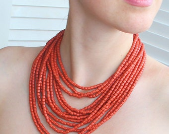 Ethnic Ukraine Red Bib Necklace - Ukraine Ethnic Jewelry - Necklace from Ukraine