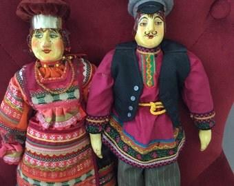 A pair of European Folk Dolls