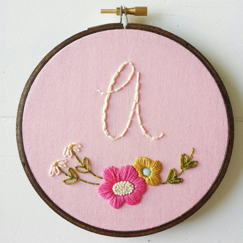Embroidery pattern pdf monogram hand