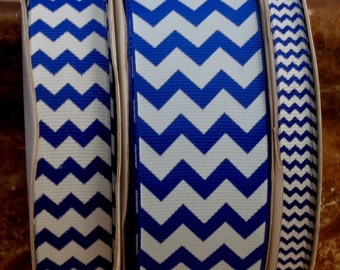 "2 Yards 3/8"", 7/8"" or 1.5"" Royal Blue Chevron Print Grosgrain Ribbon - US Designer"