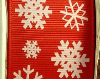 """2 Yards 1.5"""" Red Snowflake Print Grosgrain Ribbon - US Designer"""