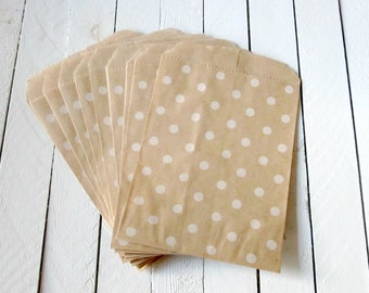 "50 - 4 x 5 3/8"" Polka Dot Print Kraft Merchandise Bags, Brown Paper Bags, Favor Bags"