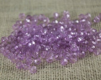 Vintage Lilac Faceted Acrylic 6mm Beads (48 Pieces)