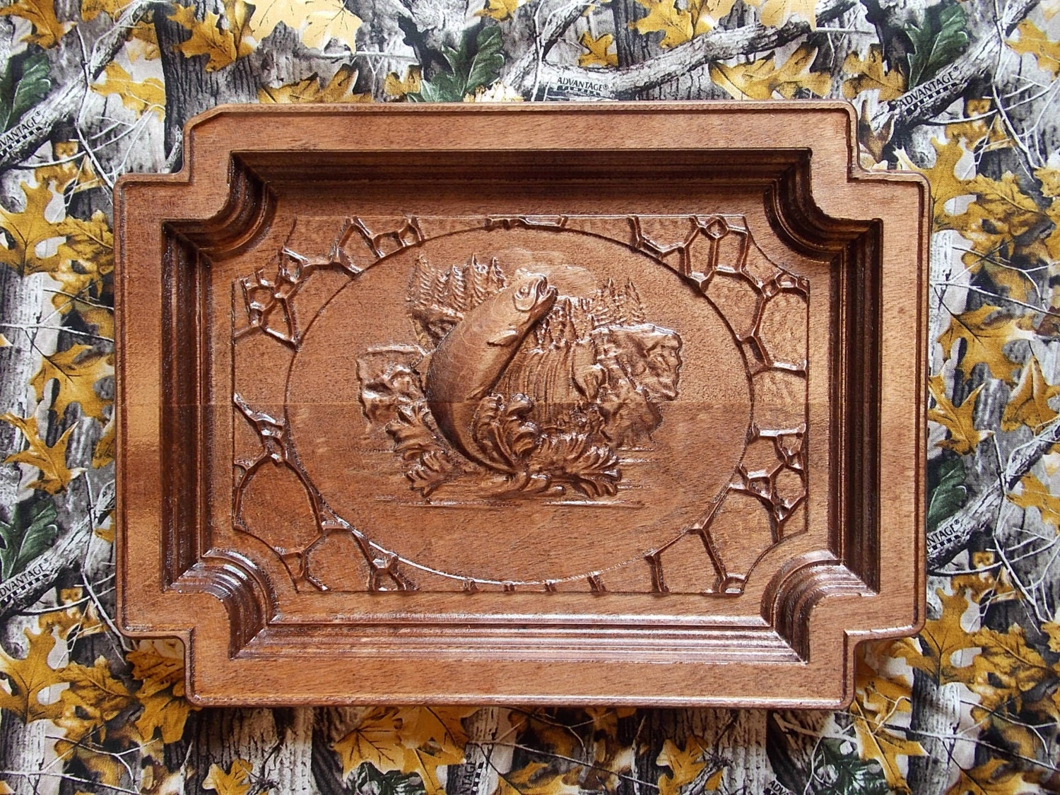 Wood carvings for sale fishing carving wall art