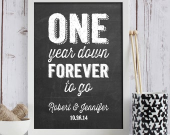 year anniversary gift 1 year anniversary print personalized wedding ...