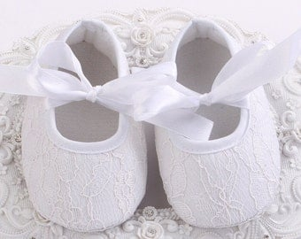 Baby Girls White Lace Overlay Shoes Christening Baptism Shoes Baby Crib Shoes Baby Shoes