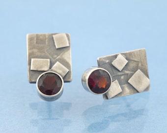 Garnet geometry sterling silver stud earrings