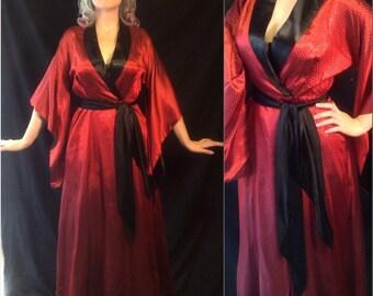 Ultra Glamour 1940's Film Noir Goddess Kimono Inspired Deadstock Garnet Red Sultry Robe Sz Small to Medium