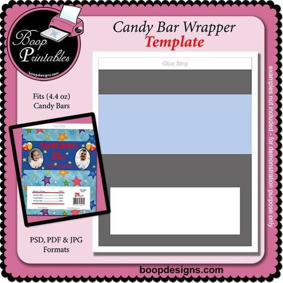 Candy bar wrapper gift or party favor template by for Candy bar wrapper template microsoft word