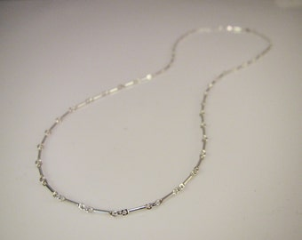 Sterling Silver Discreet Day Collar / Slave Necklace - Permanent Locking Bar Link Chain - Sized to Order