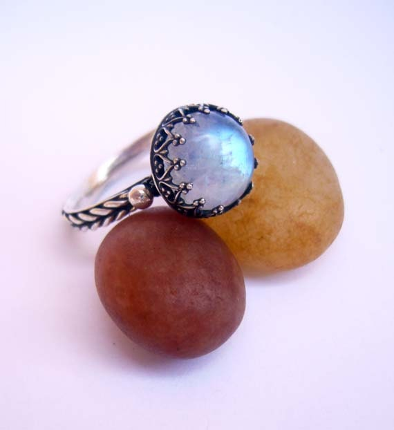 Items similar to Moonstone Ring, Silver Moonstone Ring ...