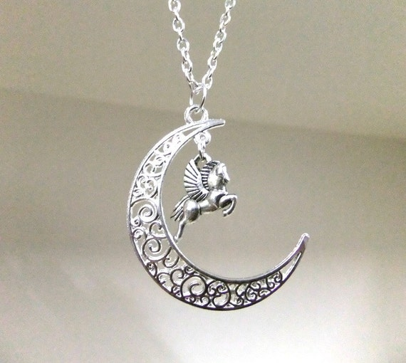 sale silver moon and pegasus necklace crescent moon