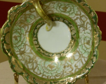 Antique I.E.&C Japan Moriage Art Deco Hand Painted Porcelain Gilded Green Bowl with Looping Handle