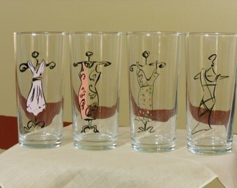Set of Four Fashionable Drinking Glasses