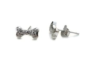 Dog Bone Sterling Silver Stud Earrings - Sterling Silver Dog Bone Post Earrings - Dog Bones Posts