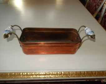 HOLLAND COPPER CONTAINER with Blue and White Handles
