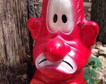 1971 A.N. Brooks Red Clown Piggy Bank