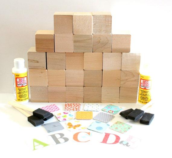 Wooden alphabet blocks diy baby shower craft shower for Child craft wooden blocks