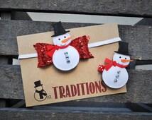Christmas Hair bow, Christmas Headband, Felt Headband, Felt Hair clip, Snowman, Baby girl headband, toddler headband, hair clip, glitter bow