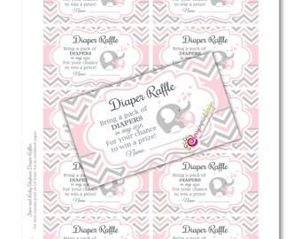 Girl Elephant Diaper Raffle - Pink and Gray Chevron - INSTANT DOWNLOAD - DIY Printable (Digital File Jpeg and Pdf)