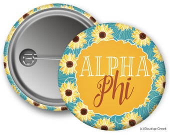 Alpha Phi Sunflower Sorority Greek Button