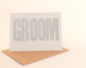 groom letterpress card