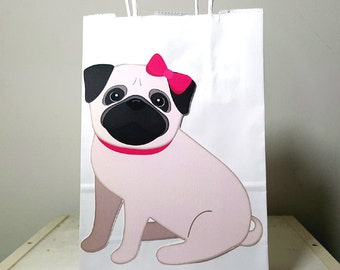 Pug Puppy Dog Party Favor Bags, Goody Bags, Gift Bags - Pug Favor Bags, Pug Goody Bags, Girl Pug Sitting
