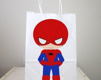 Superhero Goody Bags, Superhero Favor Bags, Superhero Birthday Party Bags - Spider Hero