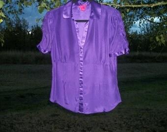 a STEAMPUNK PURPLE NOIR Silk Romantic Blouse, A Sweet Look, M