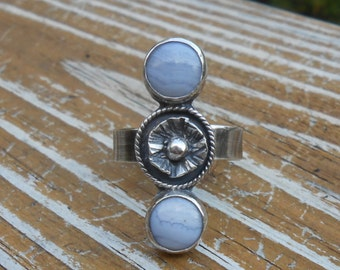 Sterling Silver Ring, Blue Lace Agate Ring, Silver Ring, Wide Band, Statement Ring, Gemstone Ring, Blue Stone Ring, Vintage Look Ring