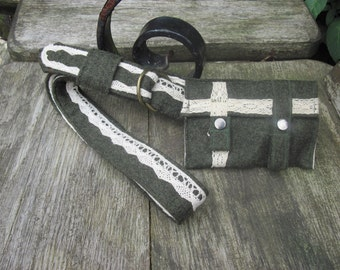 Green felt cream trim belt and pouch, purse, belt bag, wallet, d ring belt, bum bag, utility belt, hip pouch
