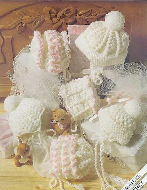 Double Crochet Baby Bonnet Pattern : six designs baby hat bonnet vintage crochet pattern PDF