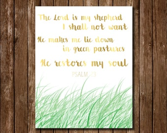 Psalm 23 The Lord is My Shepherd Gold Printable