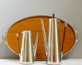 Vintage Mid Century Modern Royal Holland Pewter Teak Daalderop 3 Piece Coffee/Tea Set with Tray