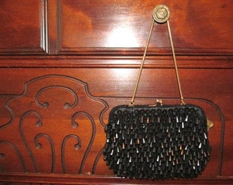 Vintage BLACK BEADED Richere BAG with Rhinestones by Walborg Hand Made in Hong Kong / Evening Bag / Purse