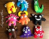Felt monsters, monsters, plush monsters, microbes, monster, soft monsters