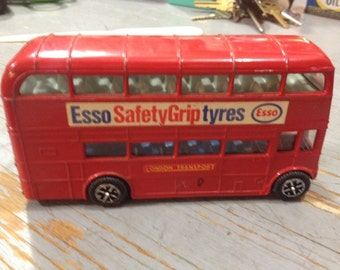 Vintage Dinky Toys Esso Safety Grip Tyres Double Decker Routemaster Bus London Diecast 1968