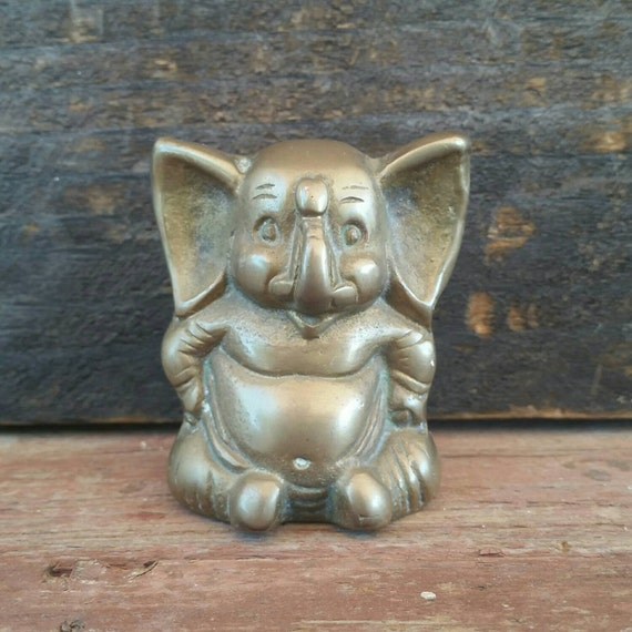 Small Elephant Decor: Small Brass Elephant Vintage Ganesh Figure Brass Home Decor