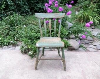 Primitive Chair / Rustic Chair / Green Chair