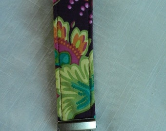 Multi color floral on burgandy Fabric, Key Fob, Key chain, Wristlet, Camera Strap