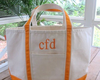 Monogrammed Large Canvas Tote Bag