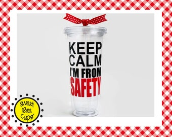 Personalized Acrylic Cup, Keep Calm I'm from the IRS, CIA, FBI, safety, vdoe, your custom agency, Sweet Bee Cups, Acrylic Tumbler, Bpa Free