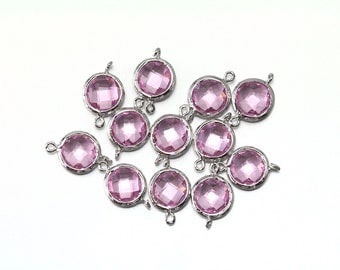 Clearance Sale 40% OFF . Pink Glass Connector . Jewelry Craft Supplies . Polished Original Rhodium Plated over Brass / 2 Pcs - AG030-PR-PK